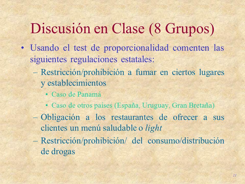 Discusión en Clase (8 Grupos)