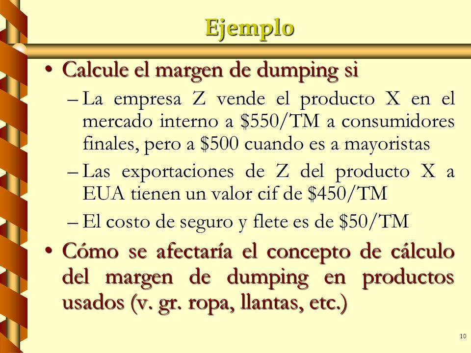 Calcule el margen de dumping si