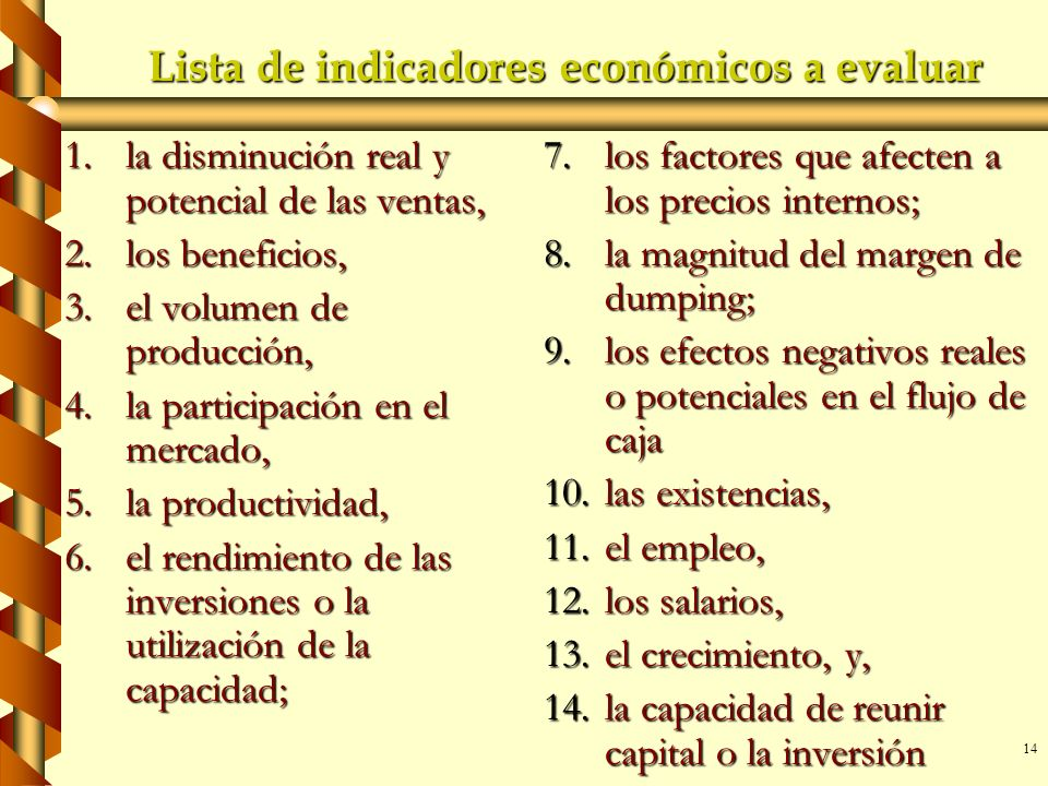 Lista de indicadores económicos a evaluar