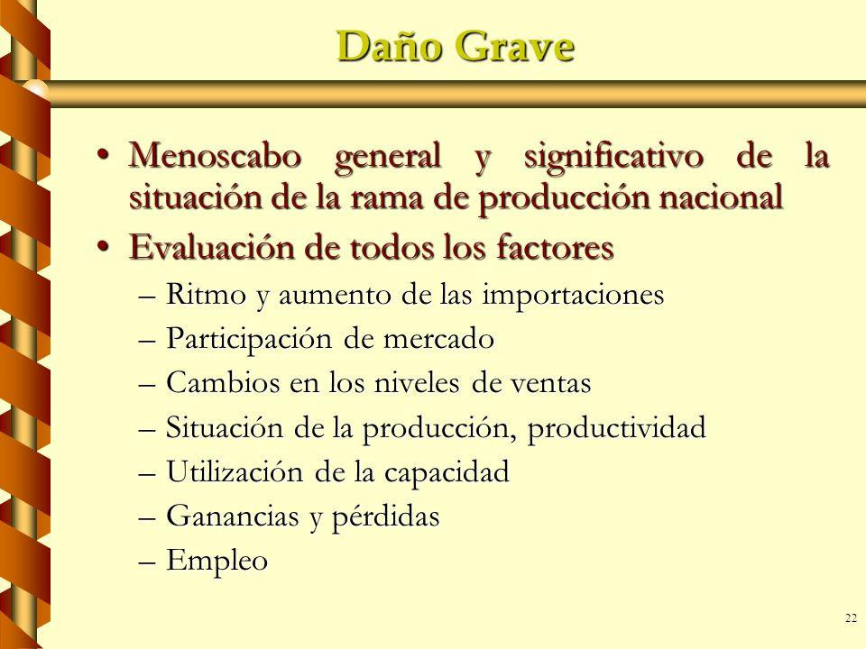 Daño Grave Menoscabo general y significativo de la situación de la rama de producción nacional. Evaluación de todos los factores.