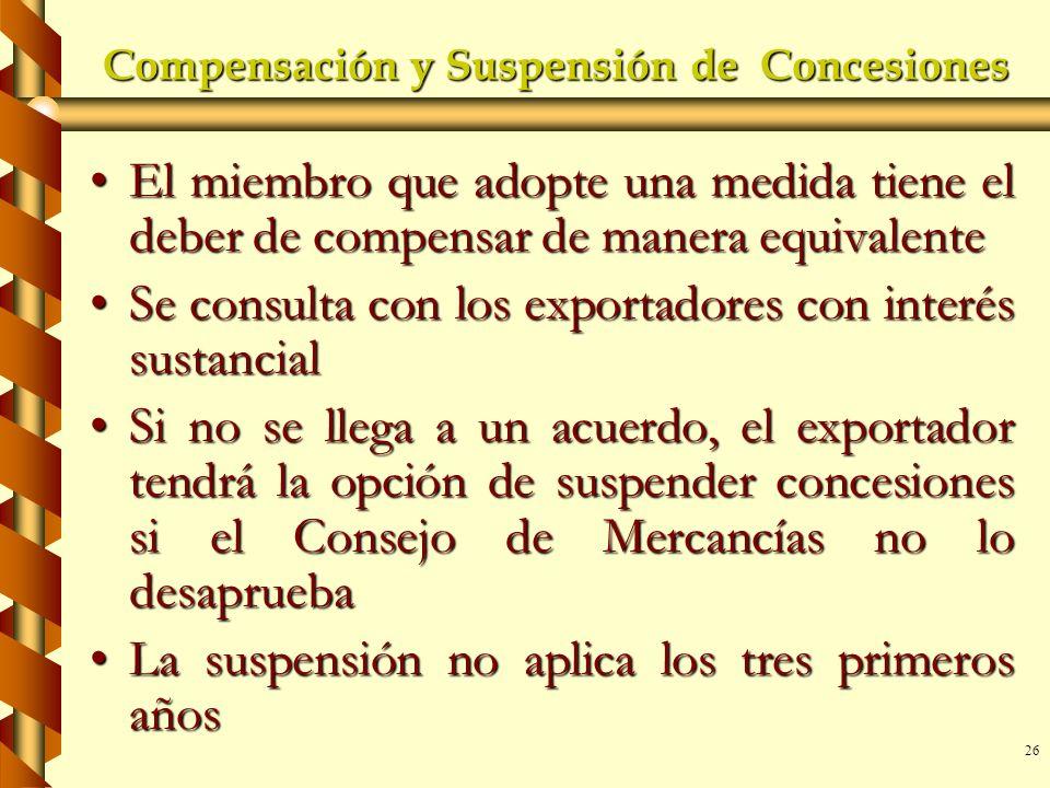 Compensación y Suspensión de Concesiones