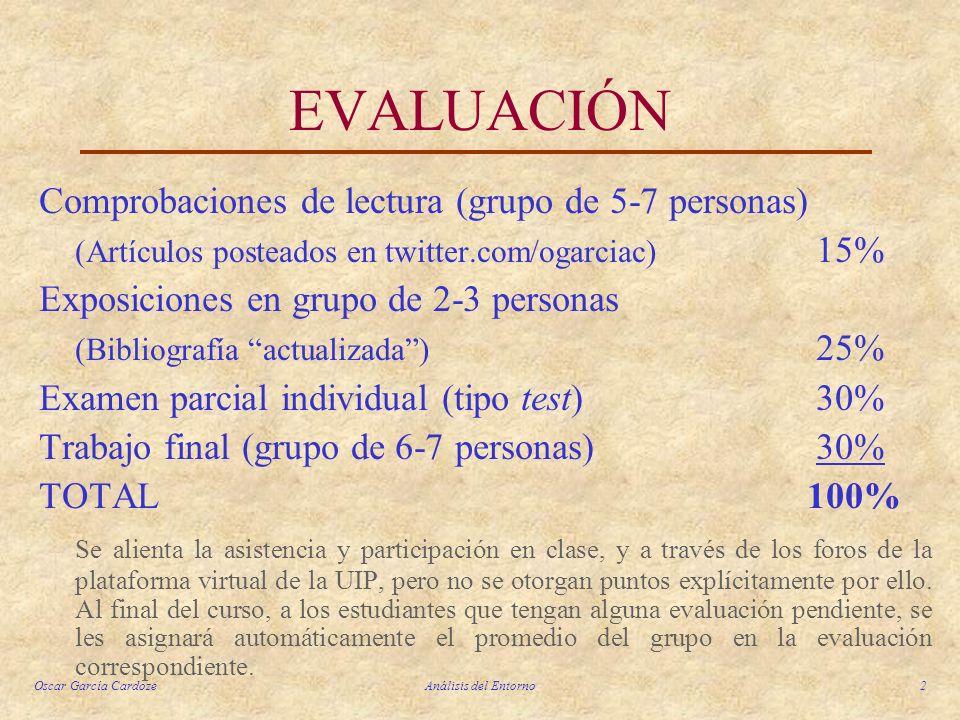 EVALUACIÓN Comprobaciones de lectura (grupo de 5-7 personas)