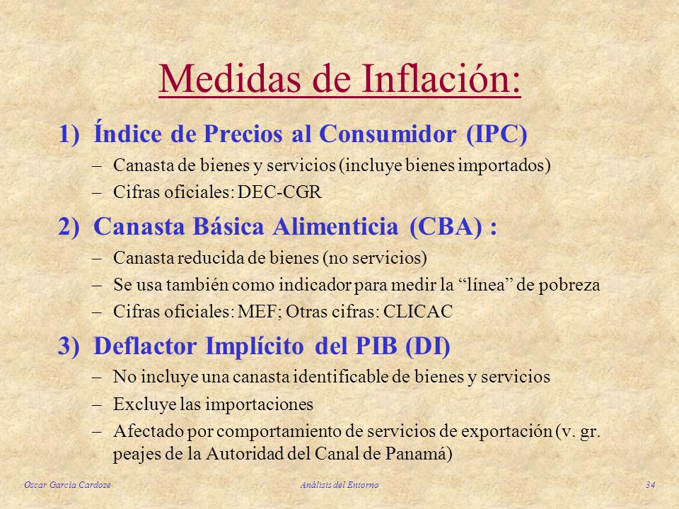 Medidas de Inflación: 1) Índice de Precios al Consumidor (IPC)