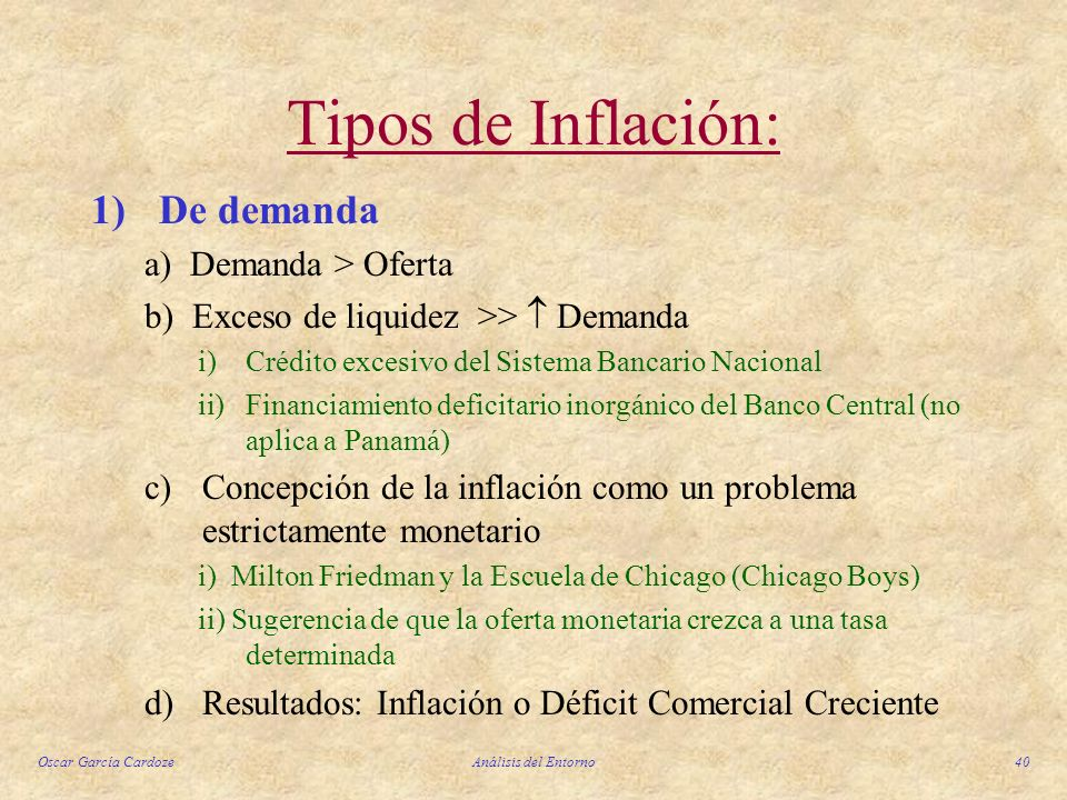 Tipos de Inflación: 1) De demanda a) Demanda > Oferta
