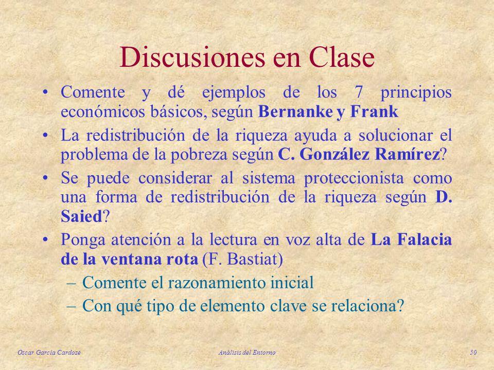 Discusiones en Clase Comente y dé ejemplos de los 7 principios económicos básicos, según Bernanke y Frank.