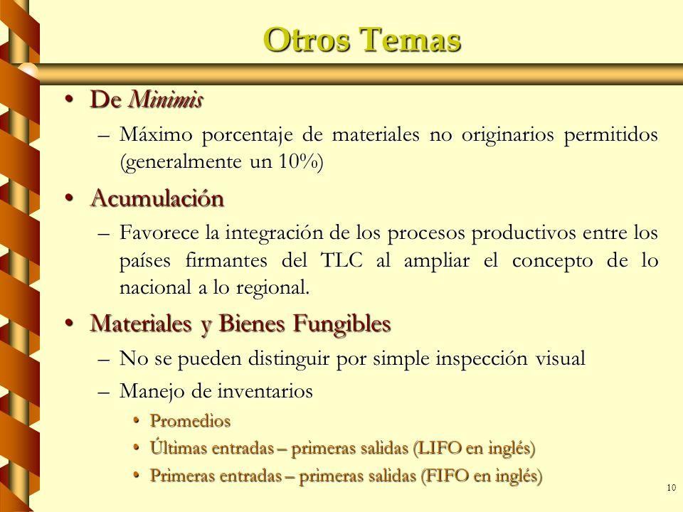 Otros Temas De Minimis Acumulación Materiales y Bienes Fungibles