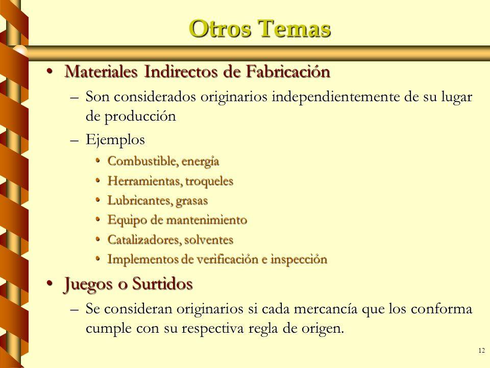 Otros Temas Materiales Indirectos de Fabricación Juegos o Surtidos