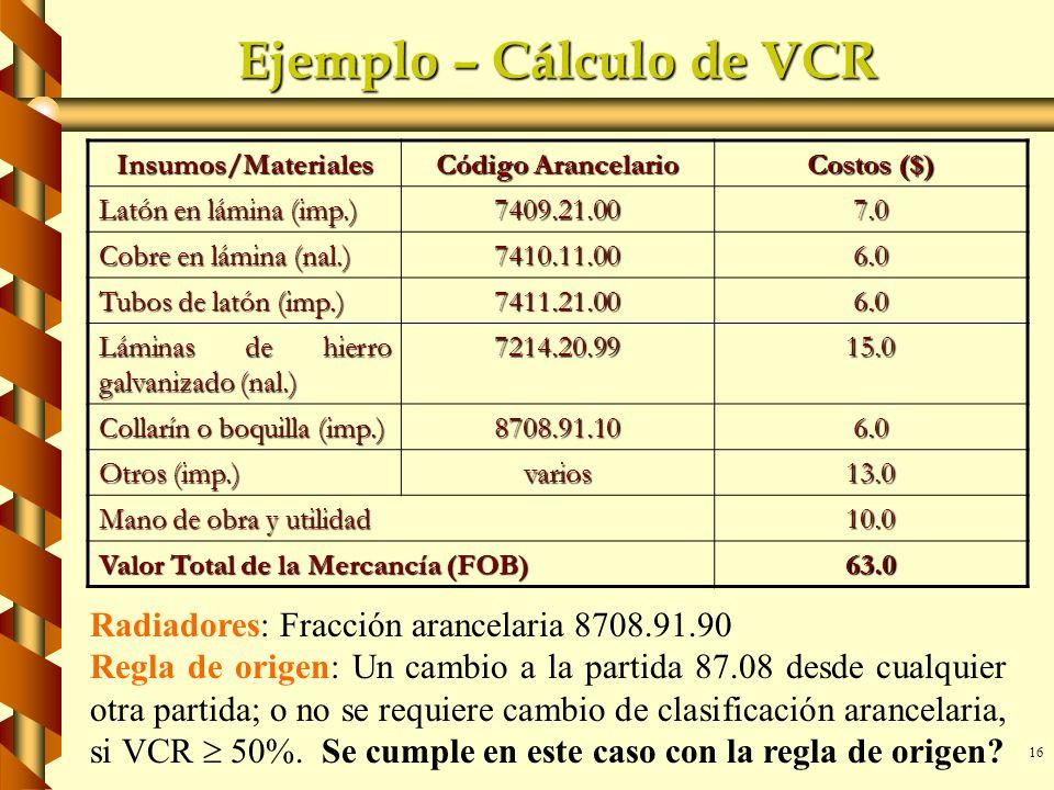 Ejemplo – Cálculo de VCR