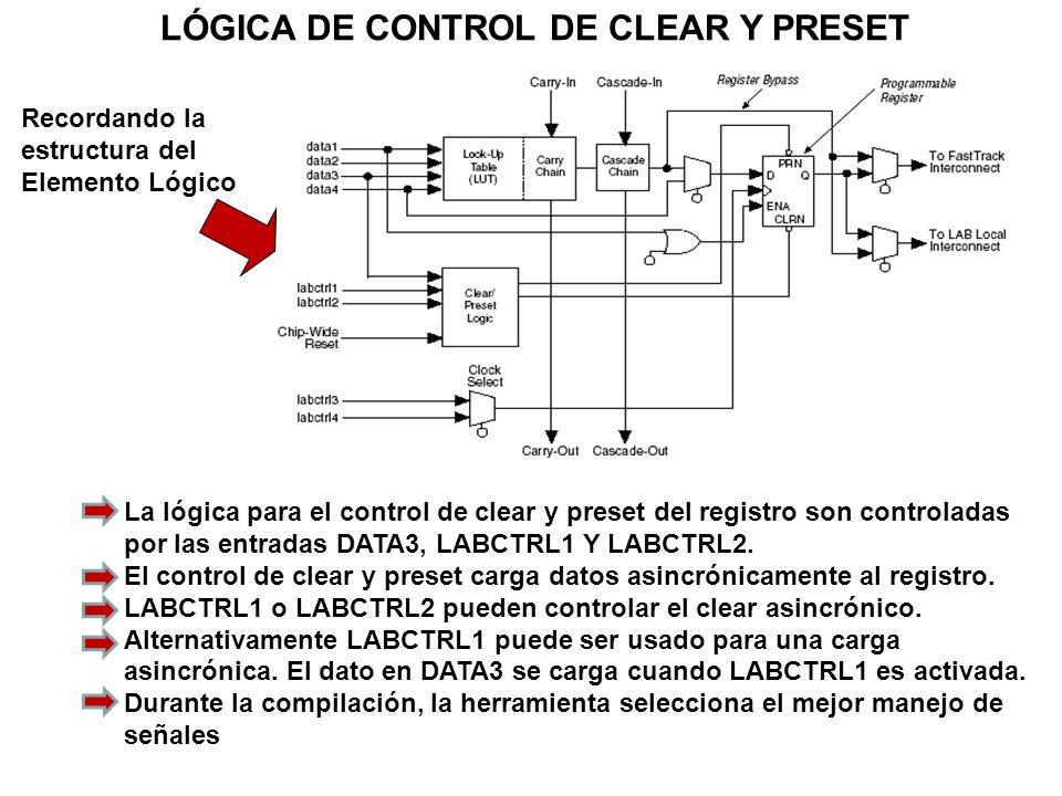 LÓGICA DE CONTROL DE CLEAR Y PRESET