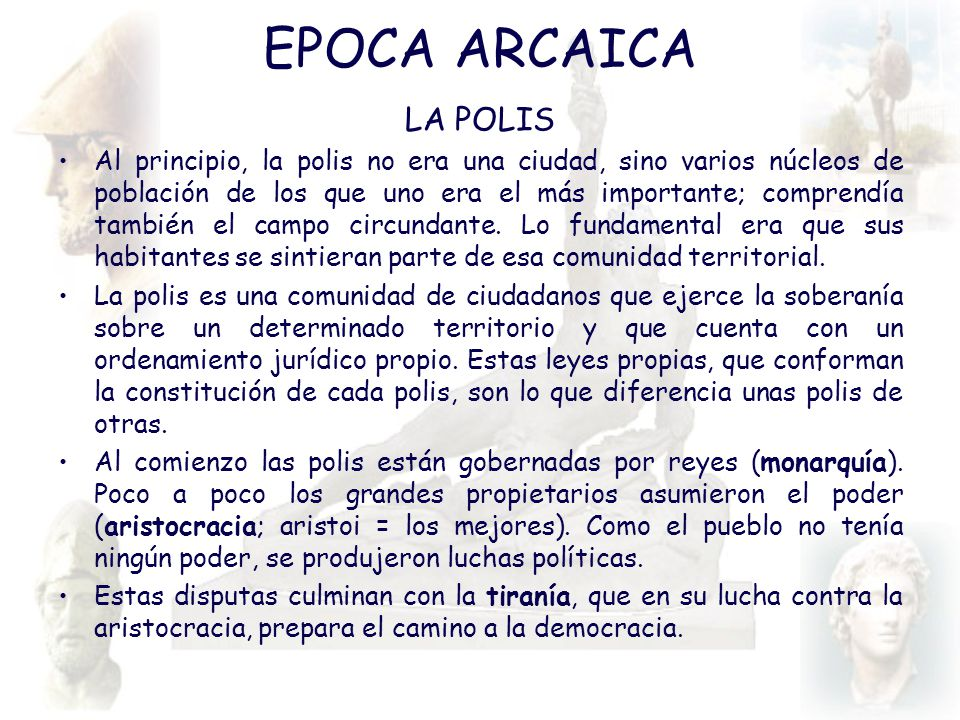 EPOCA ARCAICA LA POLIS.