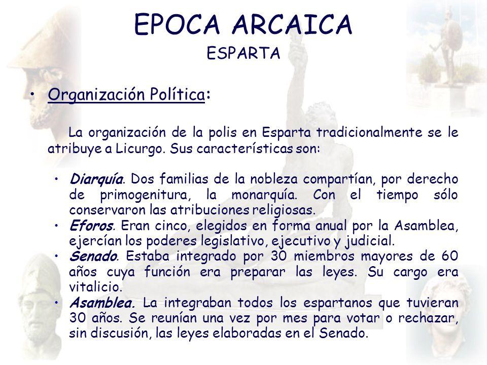 EPOCA ARCAICA ESPARTA Organización Política: