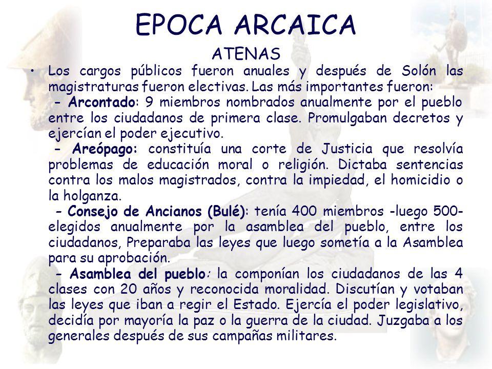 EPOCA ARCAICA ATENAS. Los cargos públicos fueron anuales y después de Solón las magistraturas fueron electivas. Las más importantes fueron: