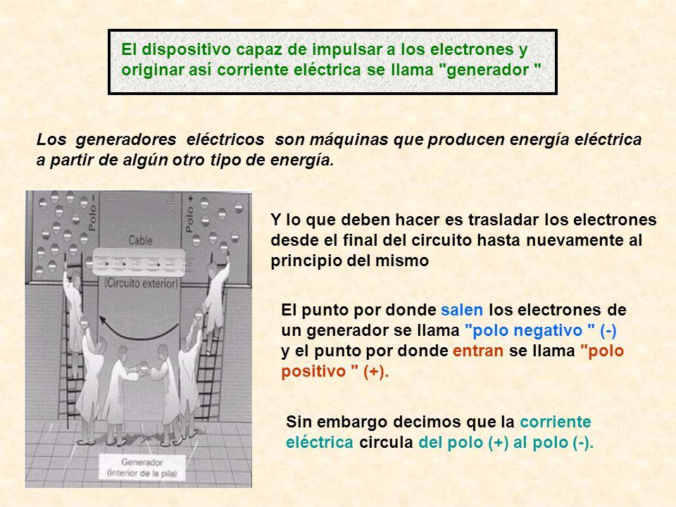 El dispositivo capaz de impulsar a los electrones y originar así corriente eléctrica se llama generador