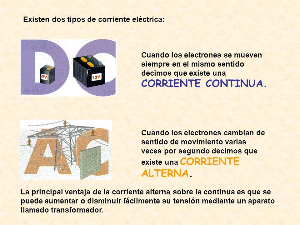 Existen dos tipos de corriente eléctrica: