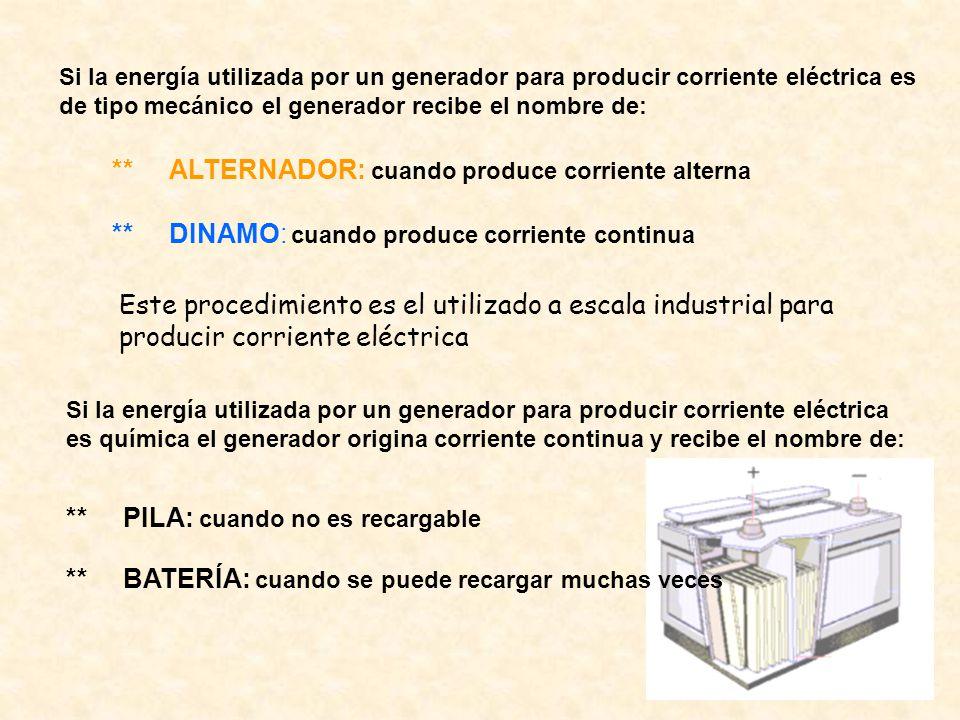 ** ALTERNADOR: cuando produce corriente alterna