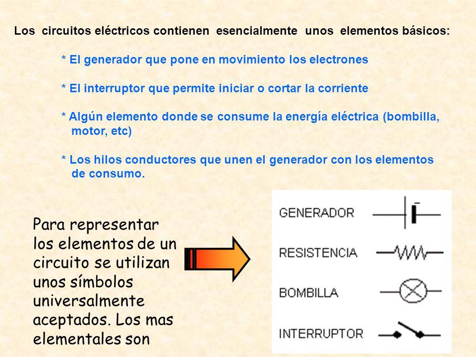 Los circuitos eléctricos contienen esencialmente unos elementos básicos:
