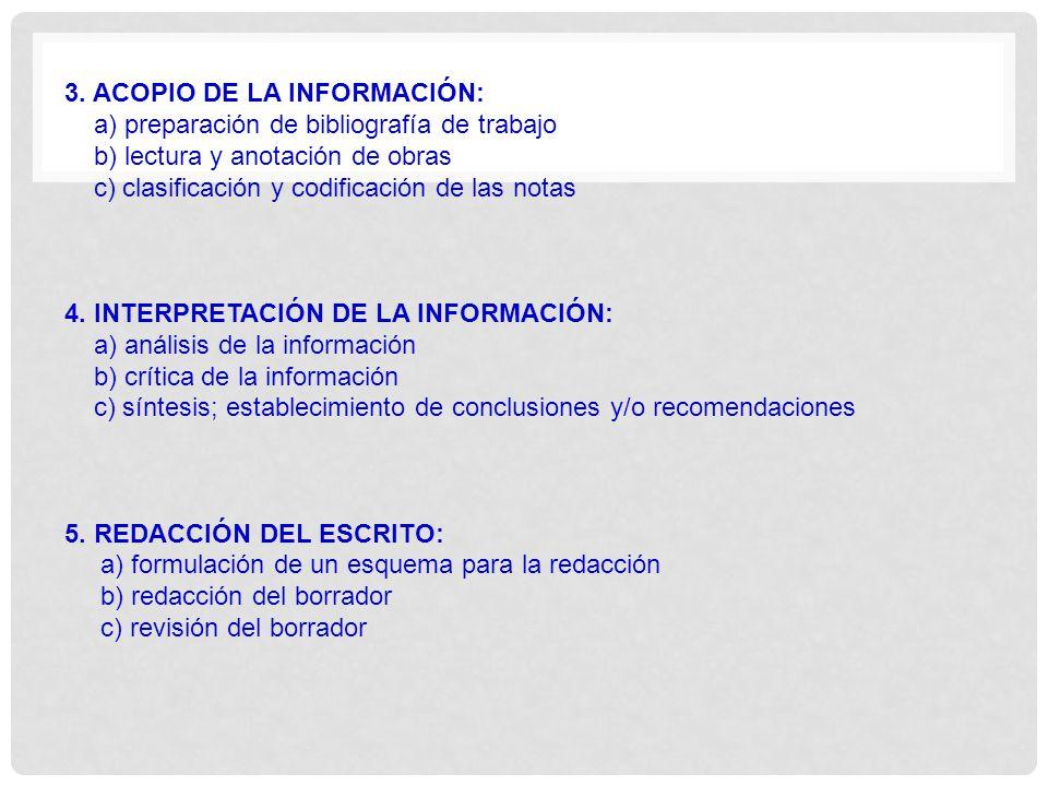 3. ACOPIO DE LA INFORMACIÓN: