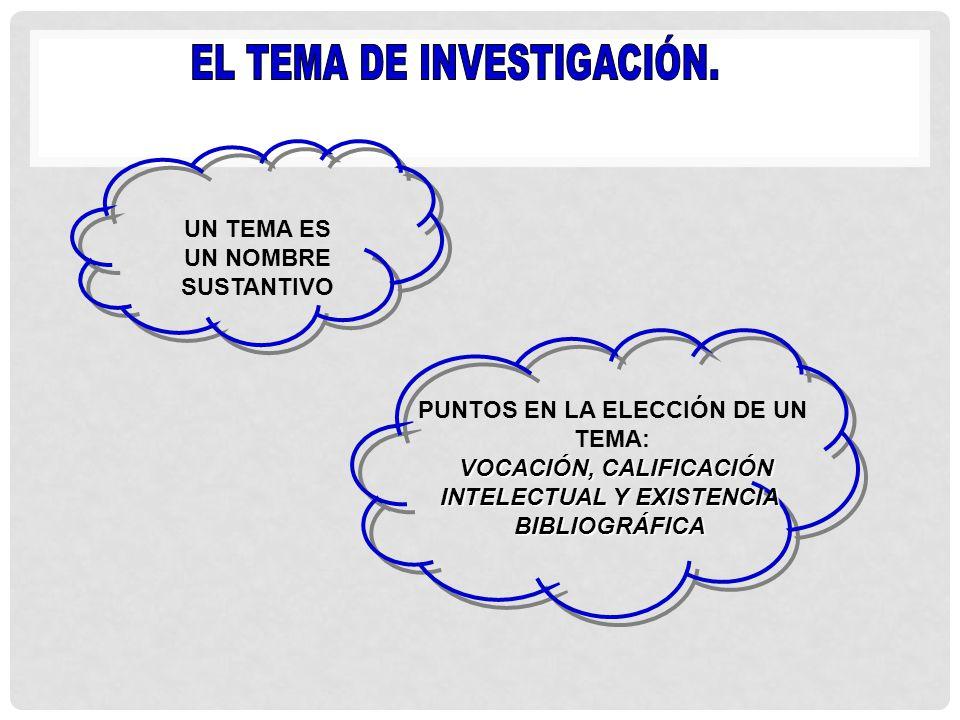EL TEMA DE INVESTIGACIÓN.