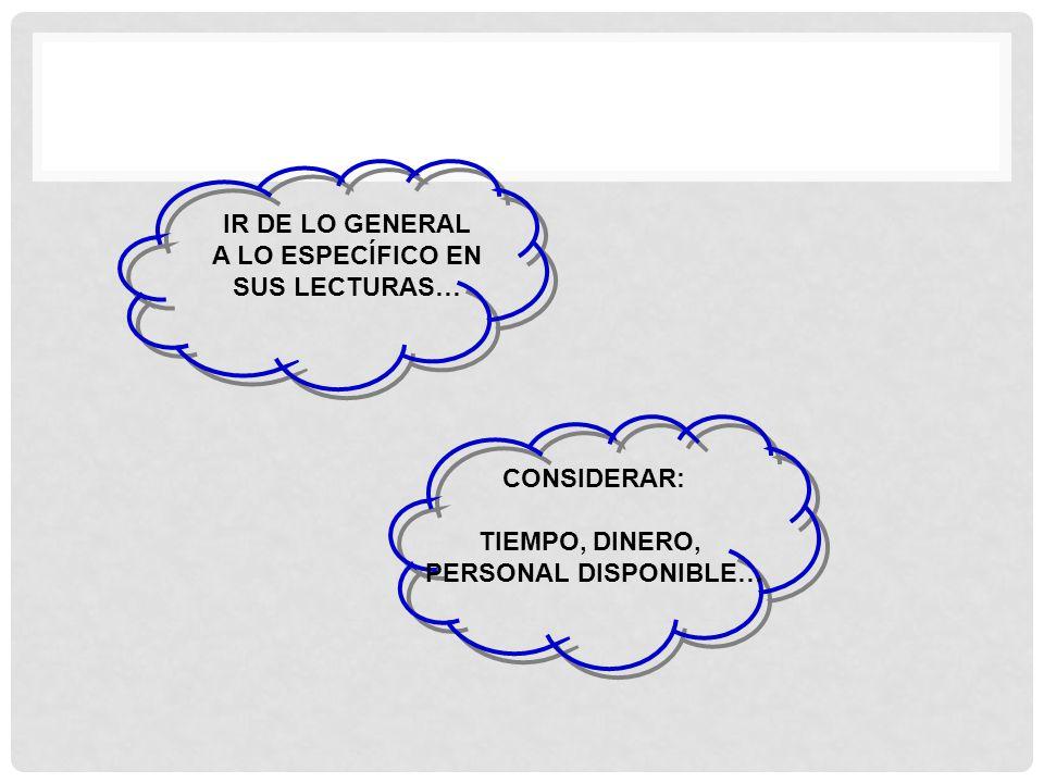 IR DE LO GENERAL A LO ESPECÍFICO EN SUS LECTURAS… CONSIDERAR: TIEMPO, DINERO, PERSONAL DISPONIBLE…