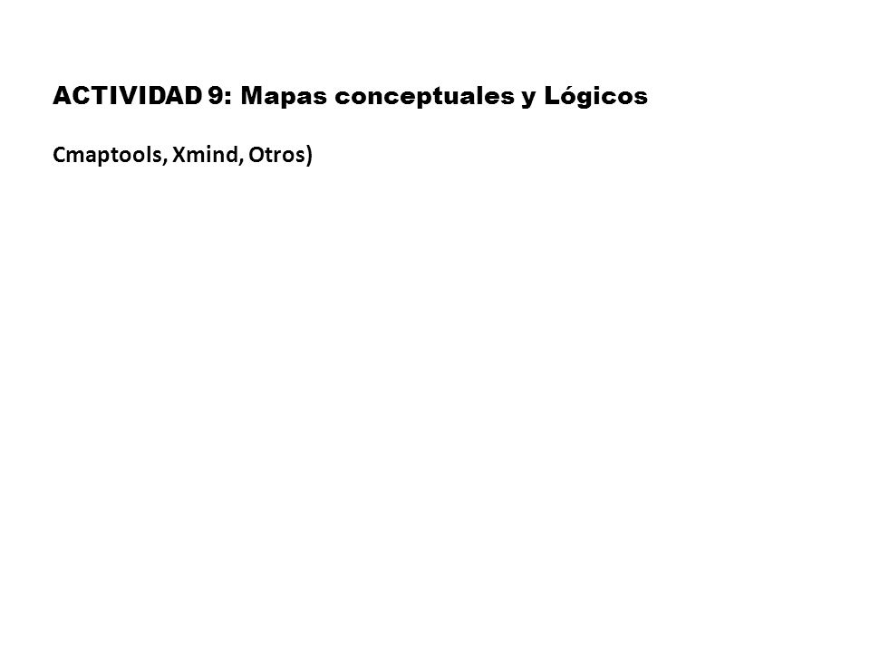 ACTIVIDAD 9: Mapas conceptuales y Lógicos Cmaptools, Xmind, Otros)