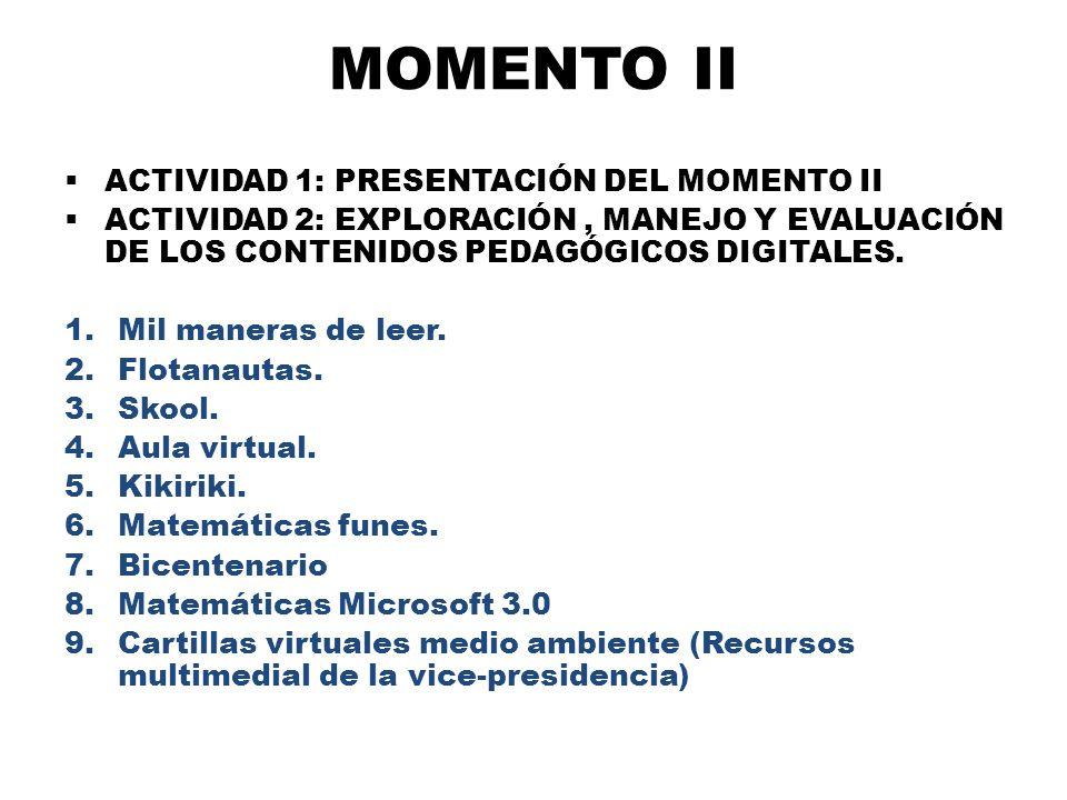 MOMENTO II ACTIVIDAD 1: PRESENTACIÓN DEL MOMENTO II