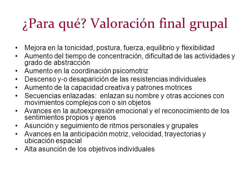 ¿Para qué Valoración final grupal