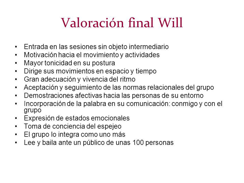 Valoración final Will Entrada en las sesiones sin objeto intermediario