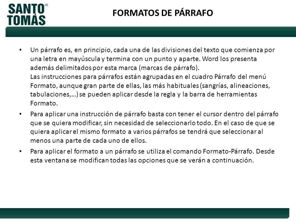 FORMATOS DE PÁRRAFO