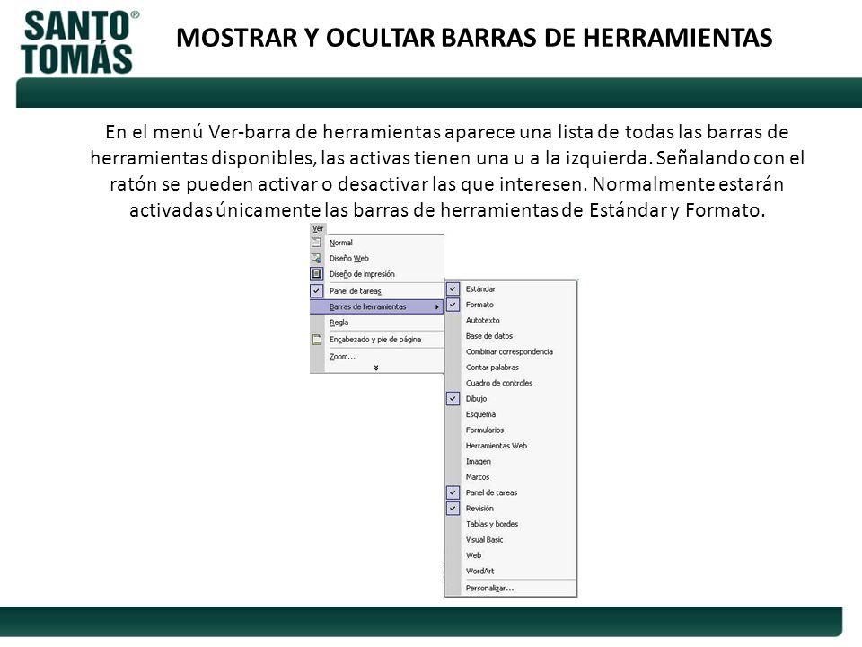 MOSTRAR Y OCULTAR BARRAS DE HERRAMIENTAS