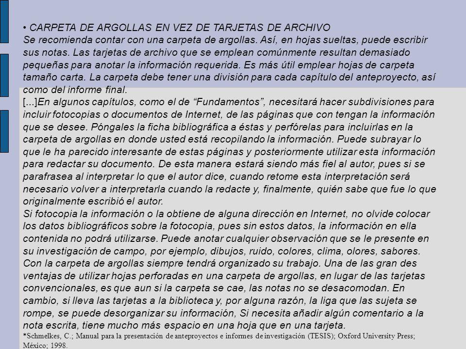• CARPETA DE ARGOLLAS EN VEZ DE TARJETAS DE ARCHIVO