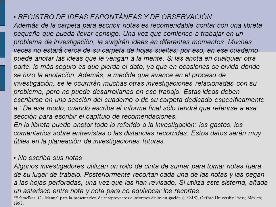 • REGISTRO DE IDEAS ESPONTÁNEAS Y DE OBSERVACIÓN