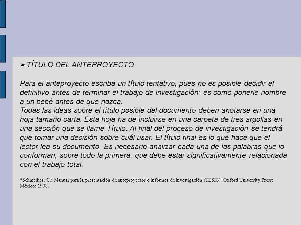 ►TÍTULO DEL ANTEPROYECTO