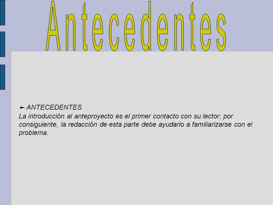 Antecedentes ► ANTECEDENTES