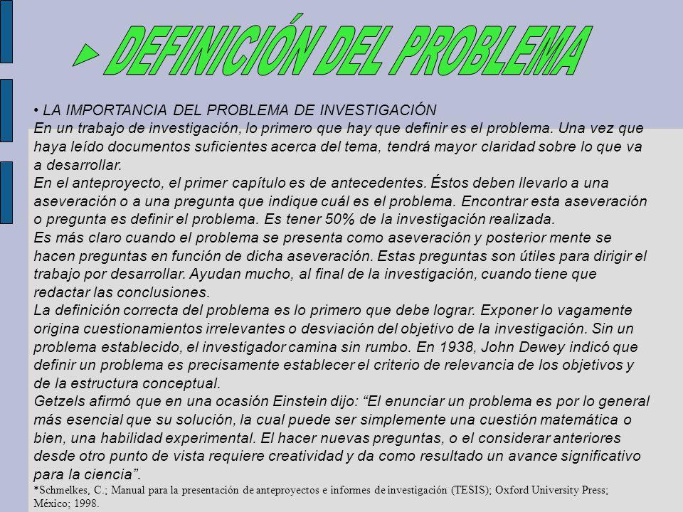 ► DEFINICIÓN DEL PROBLEMA