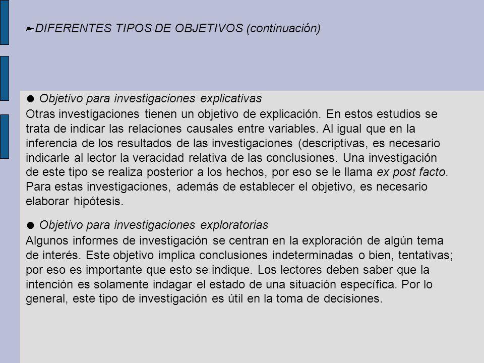 ►DIFERENTES TIPOS DE OBJETIVOS (continuación)