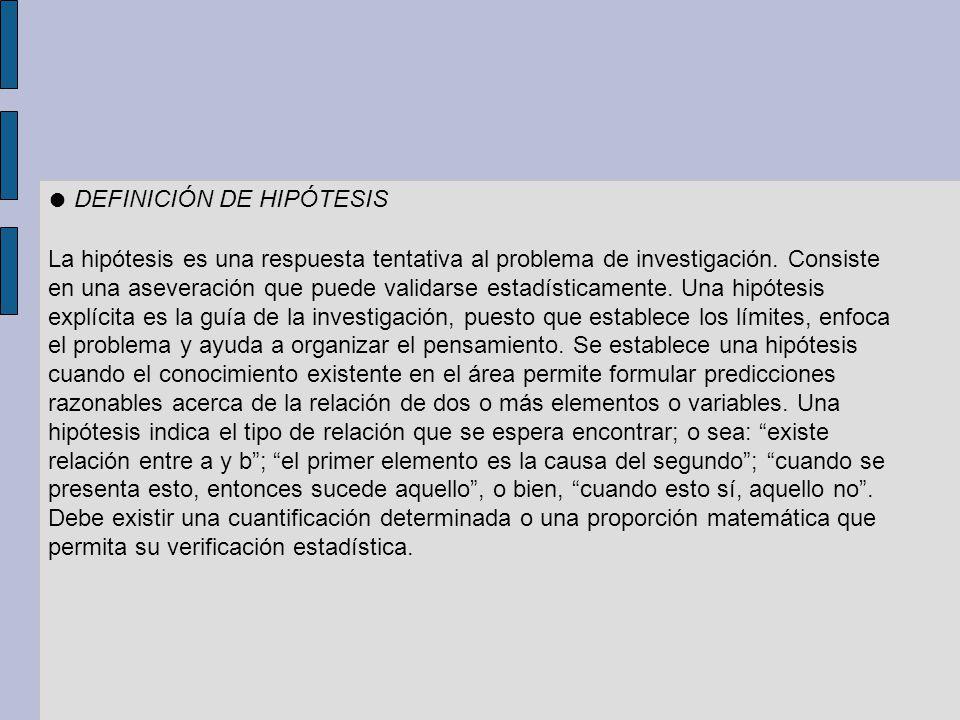 ● DEFINICIÓN DE HIPÓTESIS