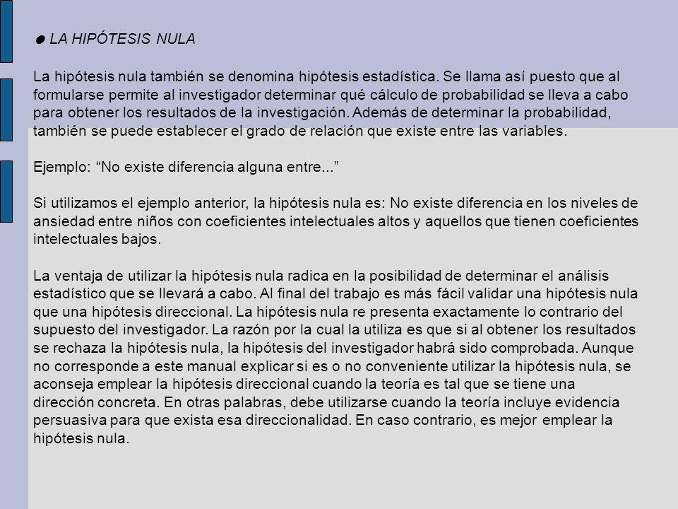 ● LA HIPÓTESIS NULA