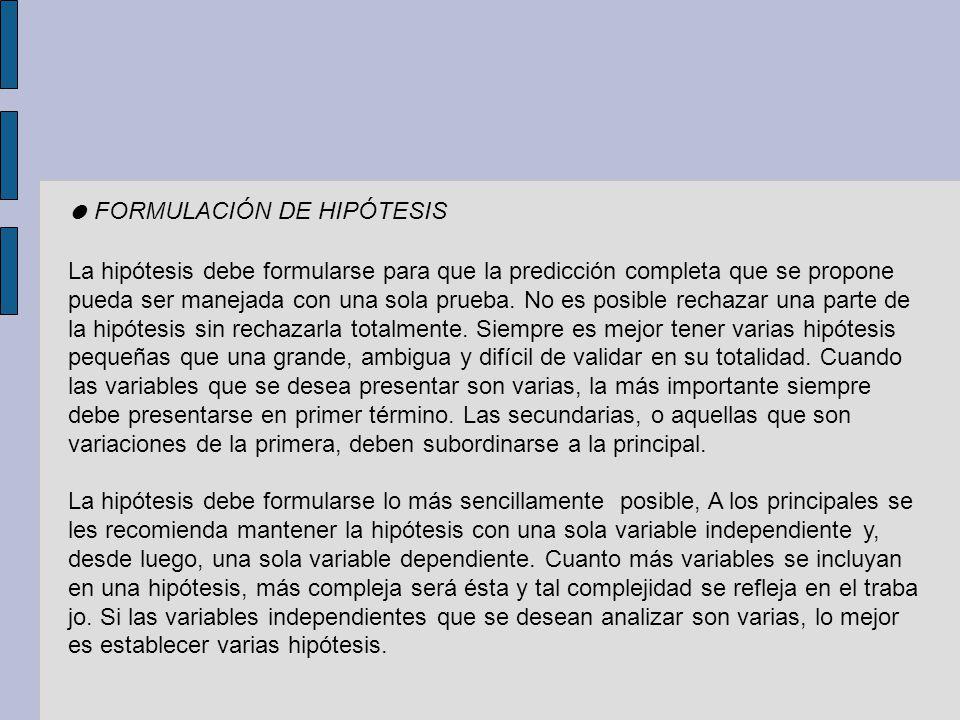 ● FORMULACIÓN DE HIPÓTESIS