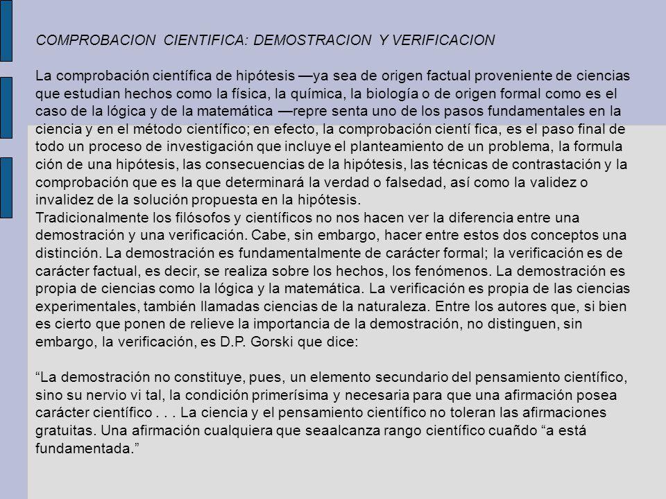 COMPROBACION CIENTIFICA: DEMOSTRACION Y VERIFICACION