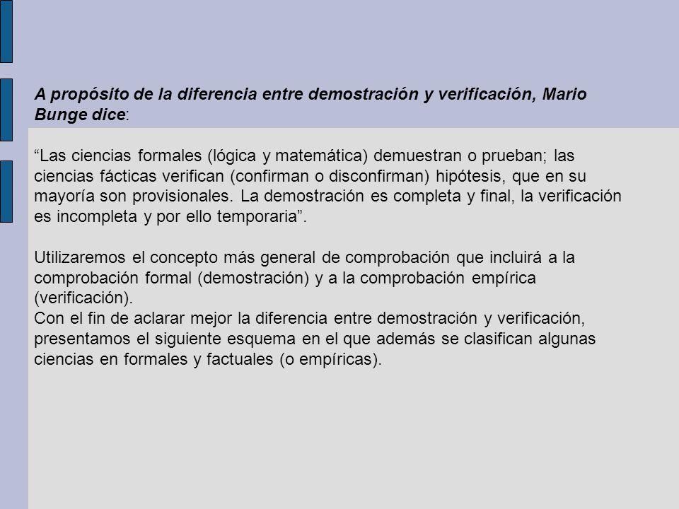 A propósito de la diferencia entre demostración y verificación, Mario Bunge dice: