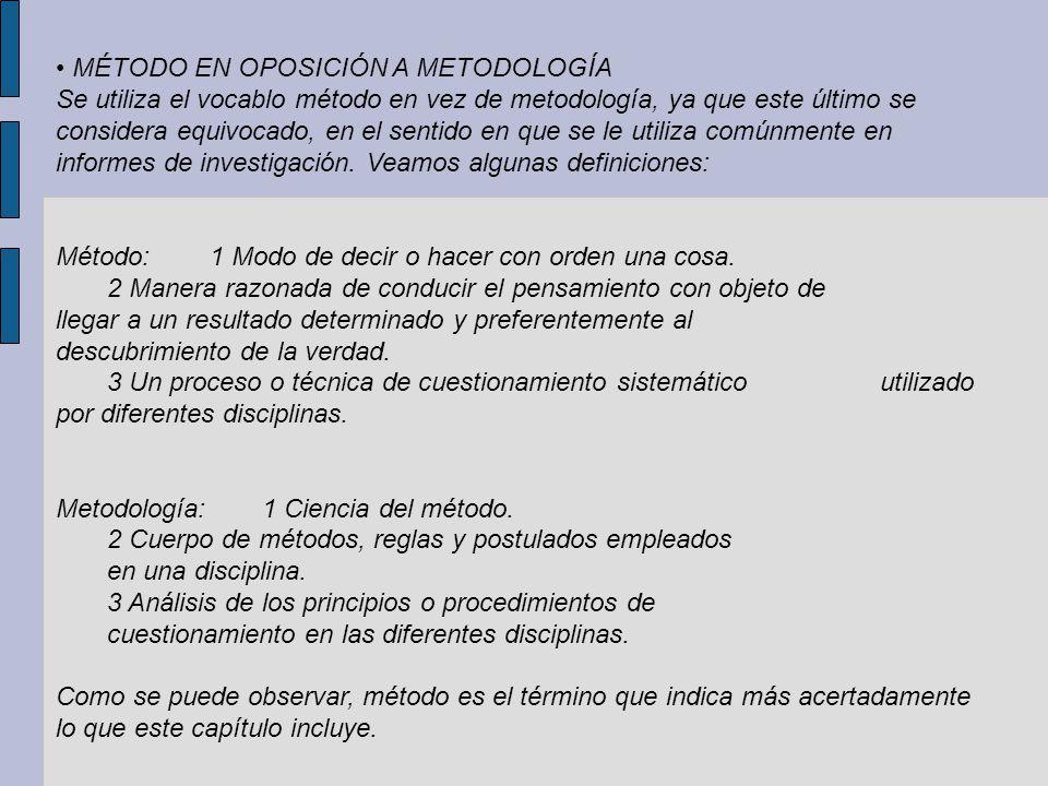 • MÉTODO EN OPOSICIÓN A METODOLOGÍA