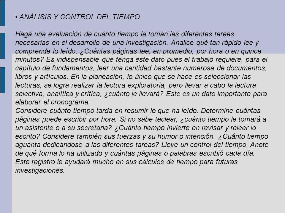 • ANÁLISIS Y CONTROL DEL TIEMPO