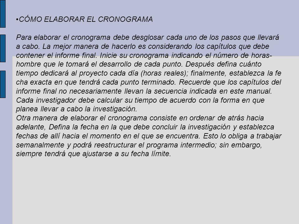 •CÓMO ELABORAR EL CRONOGRAMA