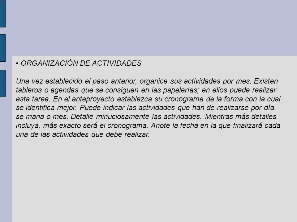 • ORGANIZACIÓN DE ACTIVIDADES