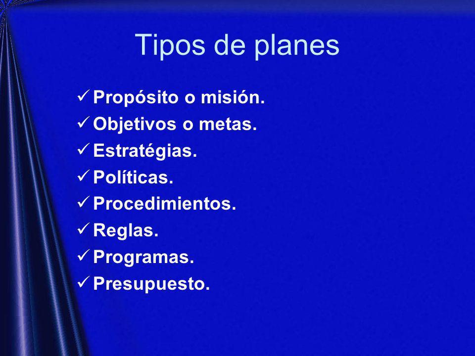 Tipos de planes Propósito o misión. Objetivos o metas. Estratégias.