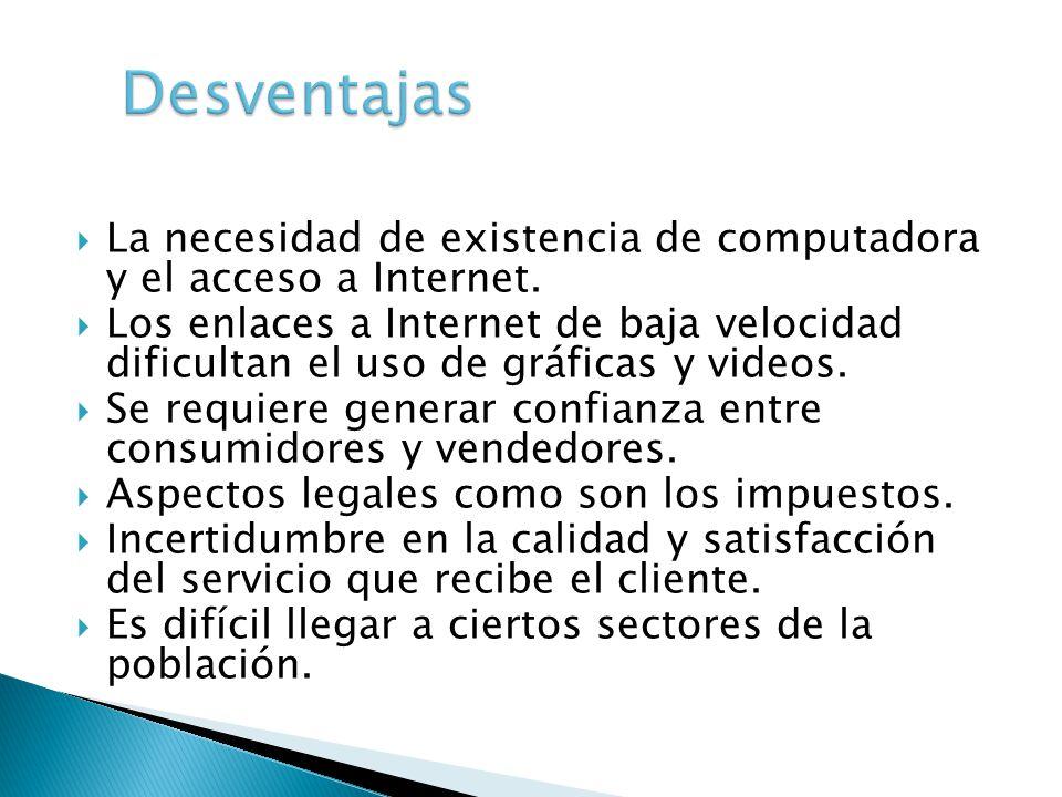 Desventajas La necesidad de existencia de computadora y el acceso a Internet.