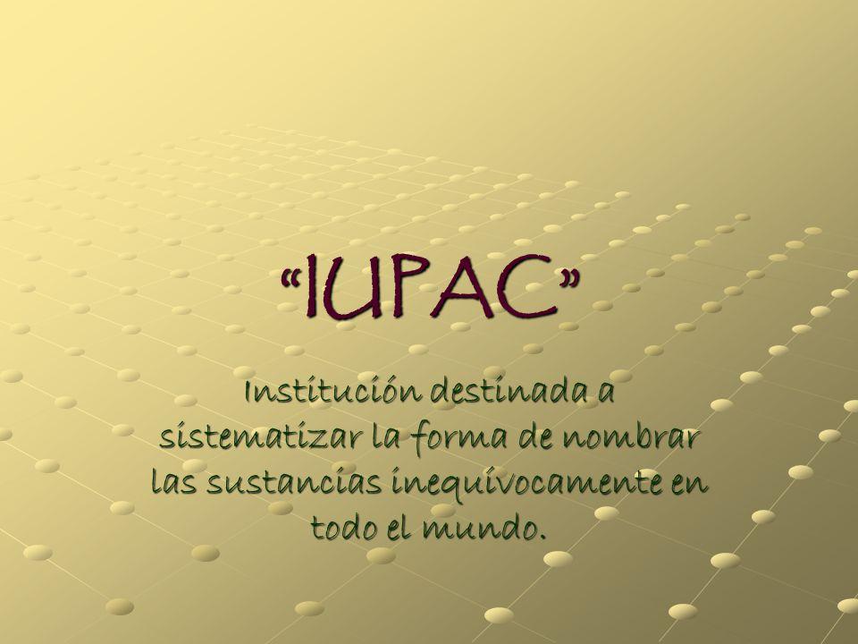 IUPAC Institución destinada a sistematizar la forma de nombrar las sustancias inequívocamente en todo el mundo.