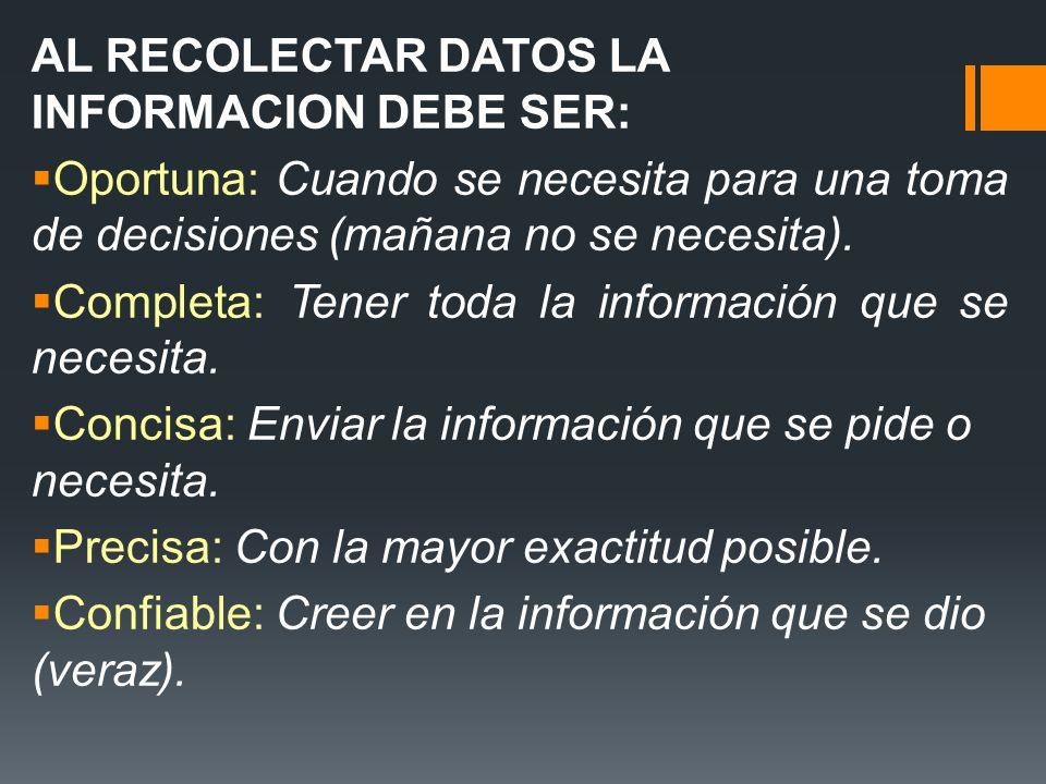 AL RECOLECTAR DATOS LA INFORMACION DEBE SER: