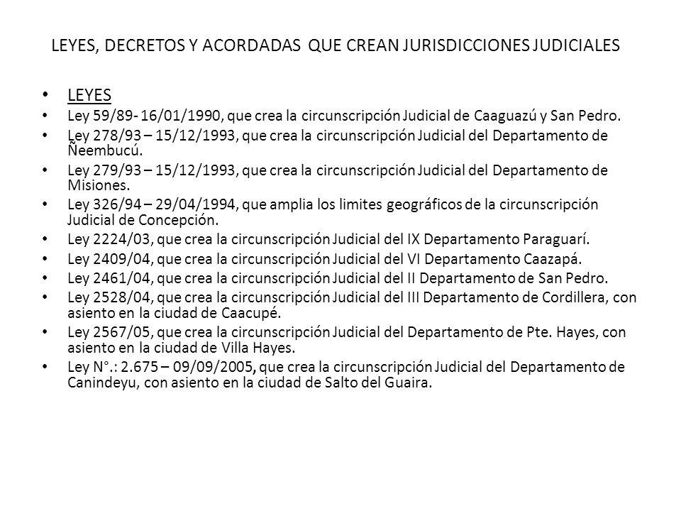 LEYES, DECRETOS Y ACORDADAS QUE CREAN JURISDICCIONES JUDICIALES