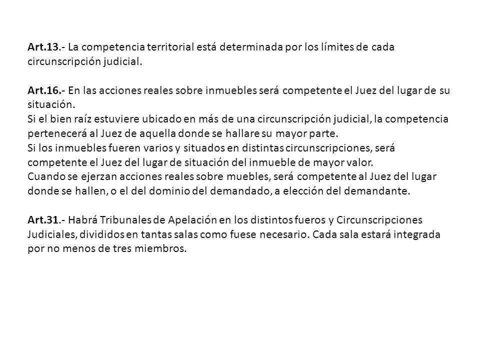 Art.13.- La competencia territorial está determinada por los límites de cada circunscripción judicial.